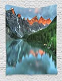 Ambesonne Cottage Decor Collection, Sunrise at Moraine Lake in Banff National Park with Snowy Peaks and Fresh Forest View, Bedroom Living Room Dorm Wall Hanging Tapestry, Dark Orange Green