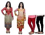 IndiWeaves Women Printed Unstitched Kurti Fabric and Premium Cotton Bio Wash Casual Legging- Combo Pack of 4