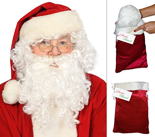 Deluxe Santa Beard and Wig Set Santa Wig and Beard Set Santa Claus Beard and Wig