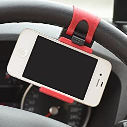 Encell Red Mount Holder on Steering Wheel For iPhone
