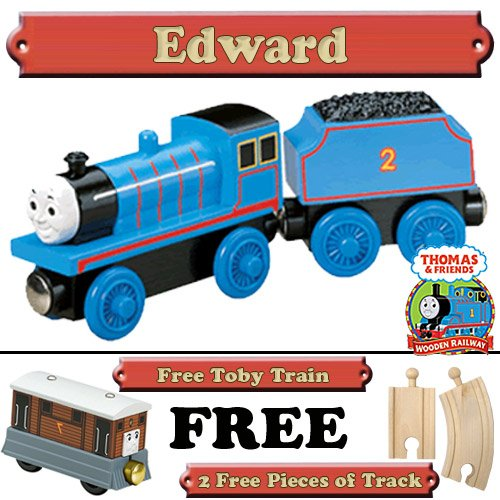 Edward from Thomas The Tank Engine Wooden Train Set - Free 2 Pieces of Track & Free Toby Train