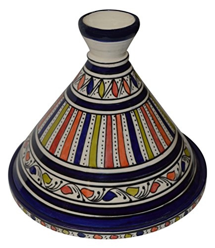 Moroccan Handmade Serving Tagine Exquisite Ceramic With Vivid colors Traditional 10 inches Across