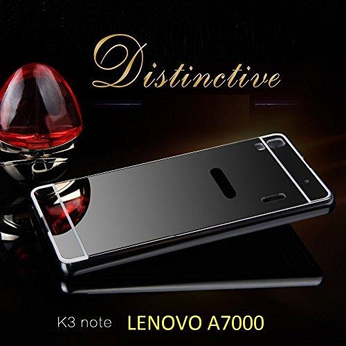 pick up 95632 d4bc3 FING (TM) Luxury Metal Bumper + PC Mirror Back Cover Case Lenovo A7000 /  Lenovo K3 Note - Black