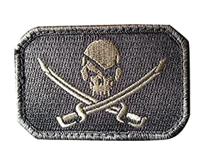 Ecusson / Patch Rectangulaire Pirate Skull Gris A Scratch Msm Airsoft Kza-e-p751 Airsoft