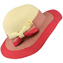 Girls Kids Beach Ages 4-8 Summer Sun 3 Tone Floppy Bucket Wide Bim Hat Cap Pink