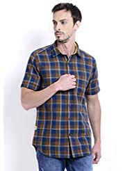 Sting Brown Check Slim Fit Half Sleeve Cotton Casual Shirt For Men