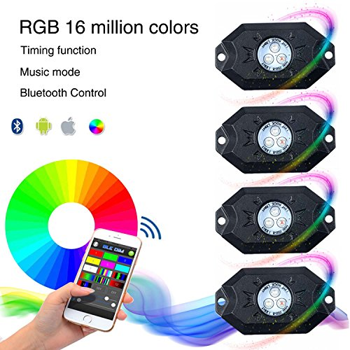 KAWELL multi-color CREE RGB LED Rock Light Kits with Wireless Remote Control for Cars Truck Exterior 4 Wheeler ATV SUV Jeep Mine Boat Motorcycle Waterproof Shockproof Neon Replacement ( 4 Pack ) (Auto Crane Remote compare prices)