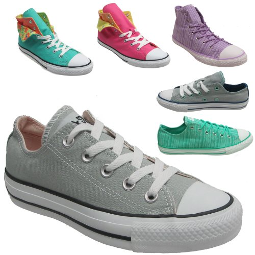New Juniors Kids Converse All Star Hi Tops And Lo Canvas Pumps Double Tongue Trainer Shoes Chuck Taylor Core Hi High Shoes Uk 3 4 5 6