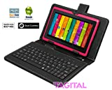 """Tagital® 7"""" Android 4.2 4GB MID Capacitive Touch Screen A13 Tablet WiFi Dual Camera Bundle Keyboard Pink"""