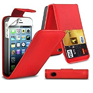 Beautiful Design Apple iPhone 4 4S Flip Premium PU Leather Case Cover For Apple iPhone 4 4S by G4GADGET® (RED)