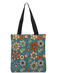 Snoogg Colorful Floral Seamless Pattern In Cartoon Style Seamless Pattern Designer Poly Canvas Tote Bag