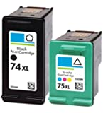 HouseOfToners Remanufactured Ink Cartridge Replacement for HP 74XL & 75XL (1 Black & 1 Color, 2-Pack)