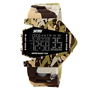 Unique Military Stealth Fighter Sport Digital LED Watch for Men and Women(Yellow)