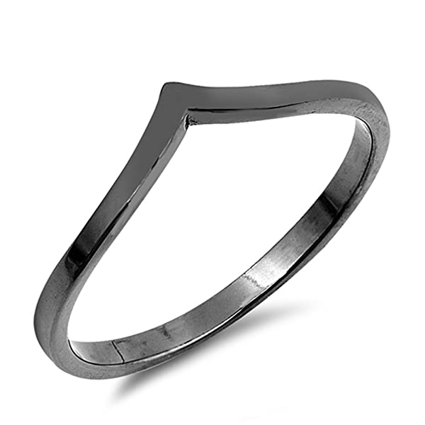 Black-Tone Pointed Chevron Thumb Ring Sterling Silver Stackable Band Size 9
