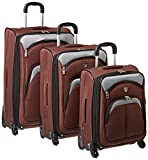 Lexington Collection- 3 Piece Luggage Set with 360? 4-Wheel System in Brown