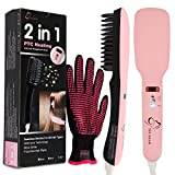 2-in-1-Ionic-Hair-Straightener-Brush-PTC-Heating-Hair-Straightening-Irons-5-Heat-Settings-for-Different-Hair-Types-360-Rotatable-Power-Cord-with-Heat-Resistant-Glove