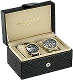 Akribos XXIV Men's AK740YG Analog Display Quartz Black Watch Set