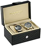 Akribos XXIV Mens AK740YG Analog Display Quartz Black Watch Set