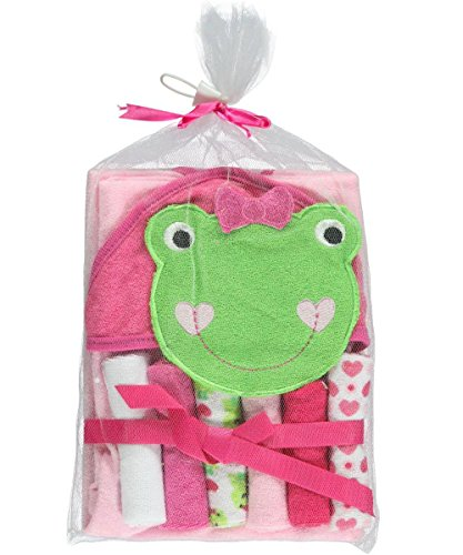 "Nuby ""Froggy Bath"" Hooded Towel & 6 Washcloths - green, one size - 1"