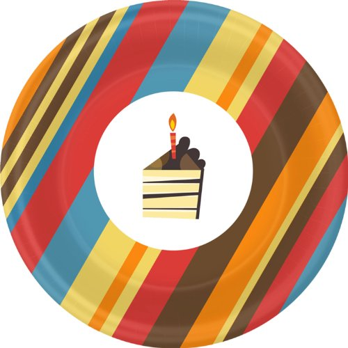 Striped Birthday Cake Dessert Plates