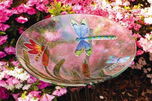 Dragonflies Glass Birdbath