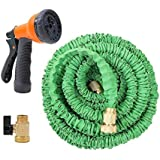 Ohuhu® 50 Feet Garden Hose / Expandable Hose, 50 ft Expandable Garden Hose with All Brass Connector & Free 8-pattern Spray Nozzle, Green