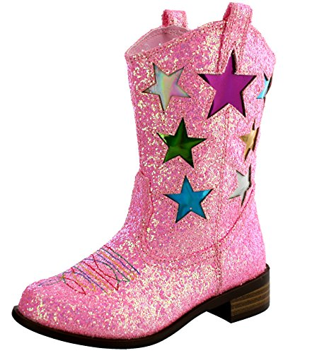 100% genuine preview of new authentic Girls' Metallic Star Western Cowboy Ryder Boots - Vegan ...