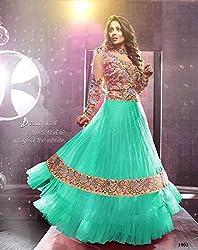 Maruti Creation Women's Georgette Semi-stitched Anarkali Suit Dress Material (MC1025_FREE_SIZE_FIROZI)