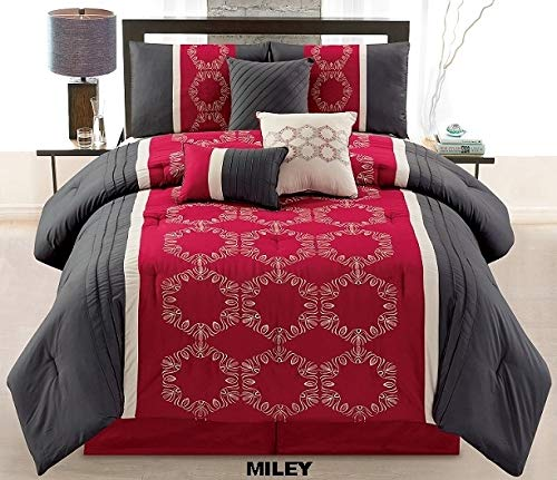Unique Home 7 Pieces Bedding Comforter Set Simple Squares Creating Simple Yet Attractive Patterns with Pillow Sham Cushion Bed Skirt King