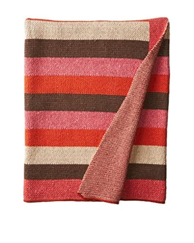 bambeco Recycled Cotton Throw/Blanket, Brown/Orange/Fuchsia/Beige
