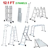 Finether 12.1 FT Extendable Aluminum Folding Ladder with Safety Locking Hinges and 2 Panels