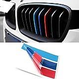 DongZhen 25cmx5cm BMW 車 に似合うな スポーツ Mロゴ フロント グリル ステッカー ストライプ デカール ドレスアップ 3色セット