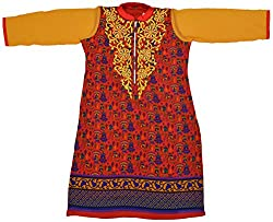 Apsara Women's Georgette Regular Fit Kurta (Red, XL)