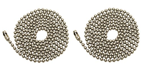 Pack Of 2 Pull Chain Extension, 36 Inch, Brushed Nickel 3-Feet Beaded Chain With Connector (Fan Pull Chain Extension compare prices)