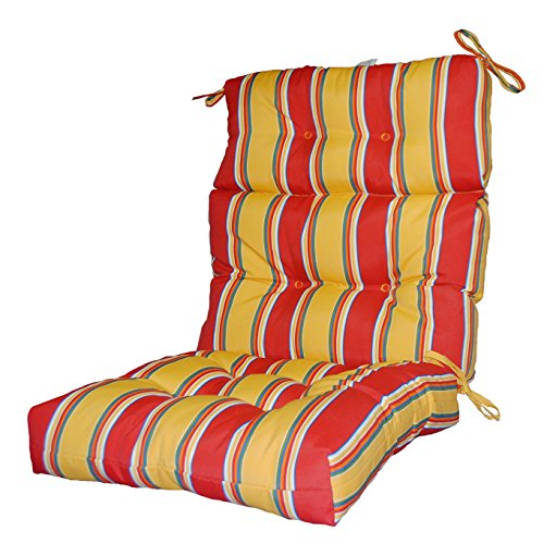 Greendale Home Fashions Indoor/Outdoor High Back Chair Cushion, Carnival Stripe