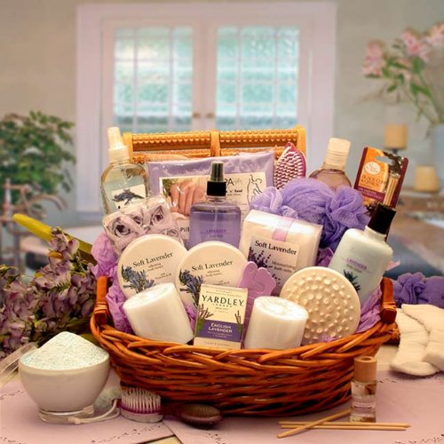 Calming Lavender Bath and Body Gift Basket for