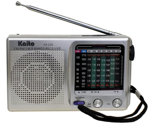 Kaito KA228 Pocket-size 9-Band AM/FM Shortwave Radio, Silver