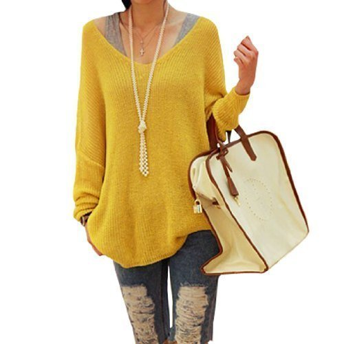 Ladies Yellow Softness Scoop Neck Long Sleeve Pullover Knit Tunic Top Large