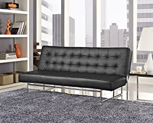 Stunning Italian Designer Sofa Bed in Soft Black Faux Leather 3 Seater Chrome Frame Modern Designer Home Furniture Very Comfortable Sofabed