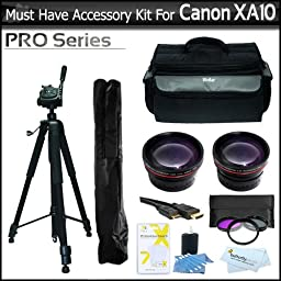 Must Have Accessory Kit For Canon XA10 Professional Camcorder Includes Deluxe Carrying Case + 72\