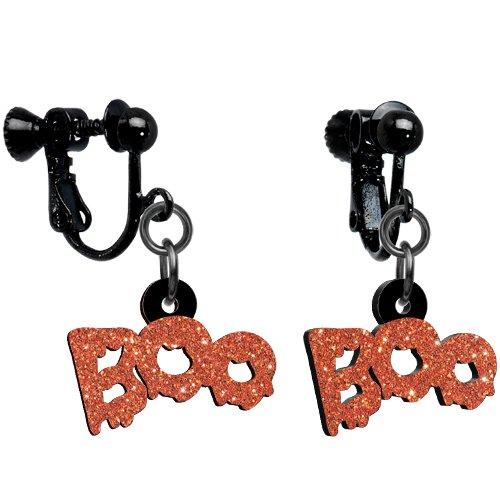 Glittery Orange Boo Clip-on Earrings