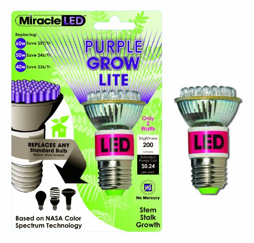 Miracle Led 603050 Led Purple Grow Lite, Indoor Gardening Bulb