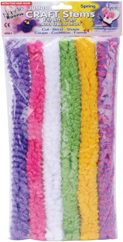 Pepperell Noodle Roonie Jumbo Craft Stems, 12-Inch, Spring, 6 Per Package