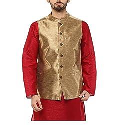Yepme Men's Gold Blended Nehru Jackets - YPMNJKT0029_S