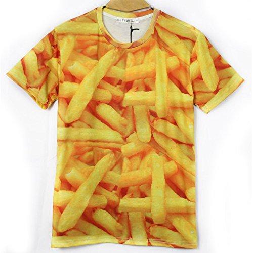 Xtx? Hip Hop 3D Printed French Fries Men Short Sleeve T Shirt Casual Cool Tops