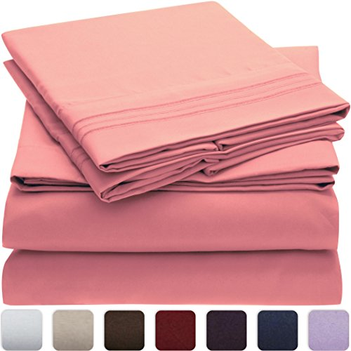 Mellanni Bed Sheet Set - HIGHEST QUALITY Brushed Microfiber 1800 Bedding - Wrinkle, Fade, Stain Resistant - Hypoallergenic - 3 Piece (Twin, Pink) (Hotel Bedding Twin compare prices)