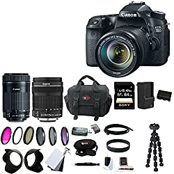 Canon EOS 70D EFS 18-135mm IS STM Kit + Canon EF-S 55-250mm f/4-5.6 IS STM Lens + 64GB SD HC Memory Card + 58mm Digital Flower Lens Hood + 58mm Photo Essentials Kit + (2) Replacement Batteries for Canon + AC/DC Rapid Mini Battery Charger for Canon + Acces