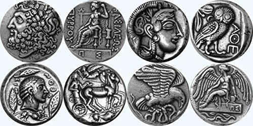 Zeus, Athéna, Apollon /, Nike, dieux grecs & déesses Collection, plus célèbres monnaies grecques, série 2 de 4 différents ensembles