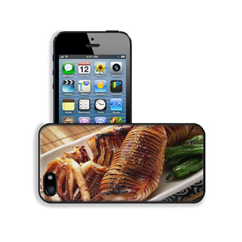 Grilled Octopus Fancy Tableware Food Apple Iphone 5 / 5S Snap Cover Premium Leather Design Back Plate Case Customized Made To Order Support Ready 5 Inch (126Mm) X 2 3/8 Inch (61Mm) X 3/8 Inch (10Mm) Luxlady Iphone_5 5S Professional Case Touch Accessories front-279502