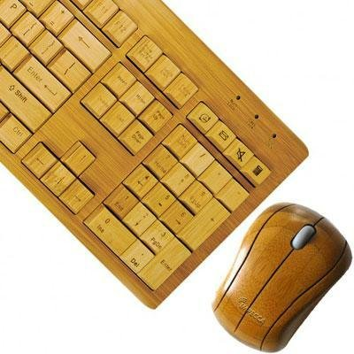 Impecca Professional Series Hand Carved Bamboo Wireless Keyboard & Mouse